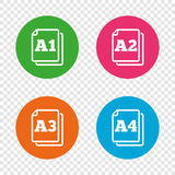 Paper size standard icons. Document symbol. Paper size standard icons. Document symbols. A1, A2, A3 and A4 page signs. Round buttons on transparent background royalty free illustration