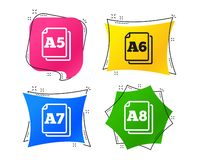 Paper size standard icons. Document symbol. Vector. Paper size standard icons. Document symbols. A5, A6, A7 and A8 page signs. Geometric colorful tags. Banners stock illustration