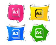 Paper size standard icons. Document symbol. Vector. Paper size standard icons. Document symbols. A1, A2, A3 and A4 page signs. Geometric colorful tags. Banners stock illustration