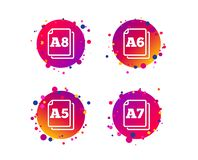 Paper size standard icons. Document symbol. Vector. Paper size standard icons. Document symbols. A5, A6, A7 and A8 page signs. Gradient circle buttons with icons royalty free illustration