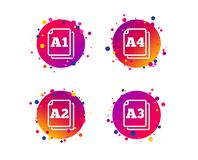 Paper size standard icons. Document symbol. Vector. Paper size standard icons. Document symbols. A1, A2, A3 and A4 page signs. Gradient circle buttons with icons stock illustration