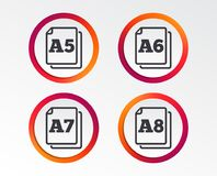 Paper size standard icons. Document symbol. Paper size standard icons. Document symbols. A5, A6, A7 and A8 page signs. Infographic design buttons. Circle vector illustration