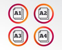 Paper size standard icons. Document symbol. Paper size standard icons. Document symbols. A1, A2, A3 and A4 page signs. Infographic design buttons. Circle royalty free illustration