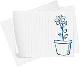 A paper with a sketch of a plant in a pot Stock Photos