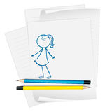 A paper with a sketch of a young girl Royalty Free Stock Images