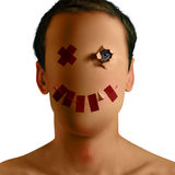 Paper skin and red tape Royalty Free Stock Image