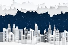 Paper skyscrapers. Achitectural building in panoramic view. Modern nidht city skyline building industrial paper art landscape skyscraper offices, clouds, wavy Stock Photos