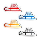 Paper sledge with snowflake, sticker Royalty Free Stock Photo