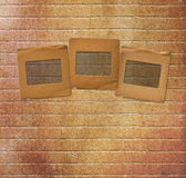 Paper slides for photos on rusty abstract background Royalty Free Stock Photos