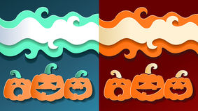 Paper smiling pumpkins Stock Photos