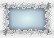 Paper snowflake blue border on blue background royalty free illustration