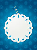 Paper snowflake Christmas label Stock Images