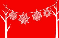 Paper Snowflake Clothesline. Vector Illustration of White Paper Snowflakes Hanging on a Clothesline Between Trees Royalty Free Stock Photography