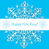 Paper snowflake. Cute  postcard with lace snowflake on blue background Royalty Free Stock Photos