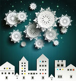 Paper snowflakes. And town night Stock Photos
