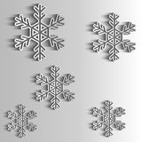 Paper Snowflakes. Winter background.  For New Year or Christmas card Stock Photo