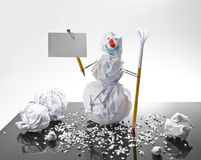Paper snowman with sign Royalty Free Stock Photos