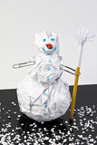 Paper snowman with sign Stock Images