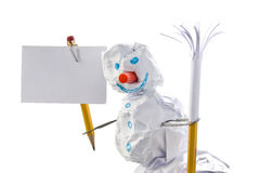 Paper snowman with sign Royalty Free Stock Images