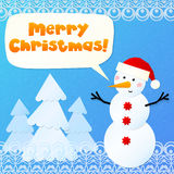 Paper snowman with sign Merry Christmas Royalty Free Stock Image