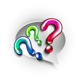 Paper speech bubble and question marks Stock Photos