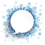 Paper Speech Bubble Snowflakes Background Royalty Free Stock Images
