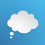 Paper speech bubble for thoughts at cloud shape. Vector illustration. Comic speech bubble for thoughts at cloud shape in paper version. Empty shape in flat style Royalty Free Stock Photo