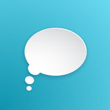 Paper speech bubble for thoughts at oval shape. Vector illustration. Comic speech bubble for thoughts at oval shape in paper version. Empty shape in flat style Royalty Free Stock Photos