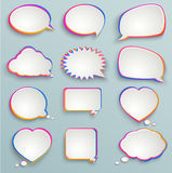Paper speech bubbles, abstract elements of infogra. Paper speech bubbles, colorful painting, abstract elements of infographics, forms of clouds, heart stock illustration