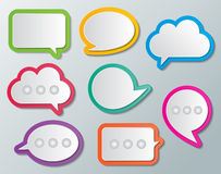 Paper speech bubbles. Set of blank multi colored paper speech bubbles. infographic elements Royalty Free Stock Images