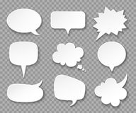 Paper speech bubbles. White blank thought balloons, shouting box. Vintage speech and thinking expression vector bubble