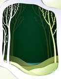 Paper spring forest landscape, paper spring fairy tale background with lake. Vector vector illustration