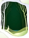 Paper spring forest landscape with hare, paper spring fairy tale background with easter rabbit,. Vector royalty free illustration