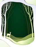 Paper spring forest landscape with young deer, paper spring fairy tale background with bambi,. Vector royalty free illustration