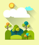 Paper spring tree and  hills.White cloud with space for design Stock Image