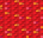 Paper square 11 hot. Seamless repeating square abstract red texture, 3d vector background Royalty Free Stock Photos