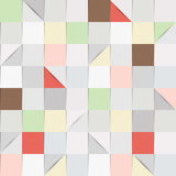 Paper squares in grey and pastel tones. Seamless background pattern, consisting of folded paper squares and triangles, in shades of grey and pastel colours Stock Illustration
