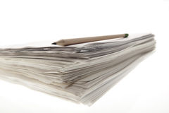 Paper stack. A sheaf of paper stacked randomly Stock Image