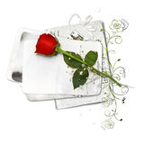 Paper stack with red rose Stock Photo