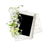Paper stack with white cherry flowers Stock Images