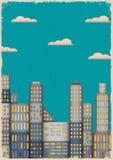 Paper stad i grungestil Arkivbild