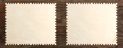 Paper stamp blank set old wooden table Stock Photo