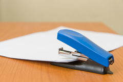 Paper stapler. On office paper Stock Images