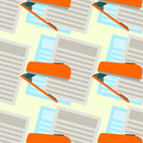 Paper and stapler seamless background design Royalty Free Stock Images