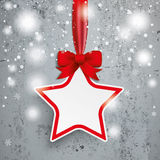 Paper Star Red Ribbon Snowfall Concrete Royalty Free Stock Image