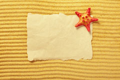 Paper and starfish lying on the sand Stock Image
