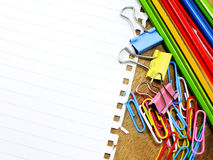 Paper and stationery supplies with copy space background Stock Images