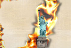 Paper Statue of Liberty texture fire flames burning background. Hot graphic illustration stock illustration