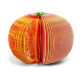 Paper stick note grapefruit mandarine isolated Royalty Free Stock Image