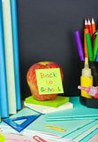 Paper sticker on the blackboard back Royalty Free Stock Photo
